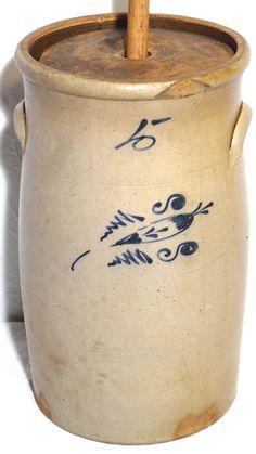 Antique Vtg Bee Sting Genre Salt Glazed 5 Gal Crock Decorative Butter Churn | eBay