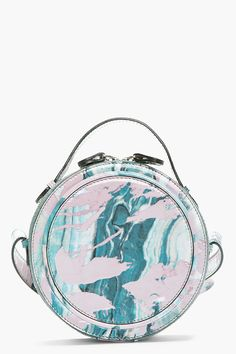 CARVEN Teal Patent Leather Marbled Round shoulder bag