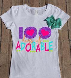 100 Days of Adorable School Shirt, Girls Shirt, Child Shirt, Youth Shirt, 100 Days of School, 100th Day of School, by LittleBirdiPaperShop on Etsy https://www.etsy.com/listing/472541255/100-days-of-adorable-school-shirt-girls