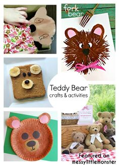 Bear Theme Crafts & Activities teddy bear themed art craft and activity ideas for kids Forest School Activities, Eyfs Activities, Craft Activities For Kids, Activity Ideas, Picnic Activities, Toddler Activities, Teddy Bear Crafts, Teddy Bear Toys, Teddy Bears
