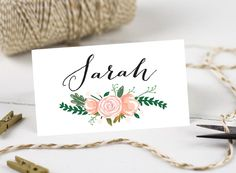 Personalised Printable Wedding Place Cards Name Vintage Fl Collection By Honeylanedesigns On
