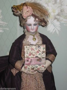 Final Sale Antique French Fashion Doll Embroided Sampler w Presentation Box | eBay