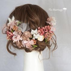 差をつける可愛さ♡深乙女色♡たっぷりパーツ!ヘッドドレス | ハンドメイドマーケット minne Flowers In Hair, Wedding Flowers, Wedding Dresses, Bridal Hair And Makeup, Hair Makeup, Hair Arrange, Hair Setting, Floral Crown, Grapevine Wreath