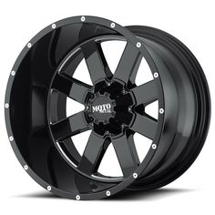 17x8//8x170mm, 00mm offset Moto Metal MO970 Gloss Black Wheel Machined with Milled Accents