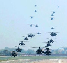 24 AH-64D Longbow Apache attack helicopters with the 4th Aerial Reconnaissance Battalion (Attack), 2nd Aviation Regiment, 2nd Combat Aviation Brigade conduct a mass landing at Camp Humphreys, South Korea