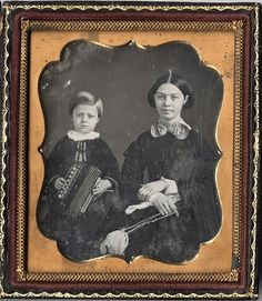 Daguerreotype of Mother and Son with a Concertina/Bandoneón