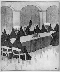 """Die Adlon-Feme in Berlin.  (Die Kanz lerstürzer).zu: Sturz des Reichskanzlers Theobald von Bethmann Hollweg durch die Mitärpartei, 14. Juli 1917. """"Die Adlon-Feme in Berlin. (Die Kanzlerstürzer)."""" - Karikatur."""