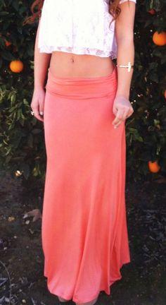 peachy maxi skirt