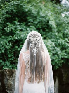Unique lace and gossamer veil