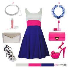 #vestido #corto #escote #redondo #azul #plata #rosa #fucsia #corte #A #vuelo #mini #dress #fashion