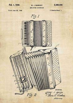 This accordion patent print is a great addition to any home, office or room. Get this accordion poster in a range of styles from patent wall art. Accordion Instrument, Piano Accordion, Friends In Love, Gifts For Friends, Luis Gonzaga, Instruments, Bamboo Weaving, Music Illustration, Bohemian Bedroom Decor