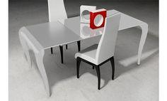 Mesa de comedor extensible de color blanco. 129 x 90 x 77cm.