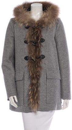 Maje Virgin Wool Fur-Trimmed Coat w/ Tags Maje, Fur Coat, Wool, Stylish, Jackets, Fashion, Down Jackets, Moda, La Mode