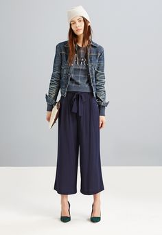 Madewell Rivet & Thread simple jean jacket worn with Paris check sweatshirt + Varick trousers.