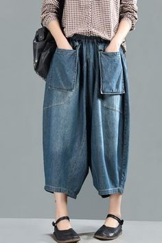 Women Spring Casual Big Pockets Solid Loose Jeans Khaki Pants Outfit, Boho Pants, Loose Jeans, Stretch Jeans, Boho Outfits, Casual Outfits, Hooded Raincoat, Jeans Material, Spring Shirts