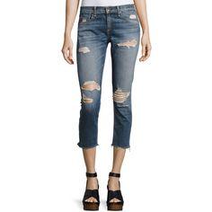 Rag & Bone/Jean Dre Capri Distressed Denim Jeans ($250) ❤ liked on Polyvore featuring jeans, indigo, women's apparel jeans, destructed jeans, mid rise skinny jeans, blue jeans, ripped jeans and capri jeans