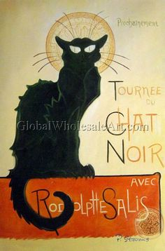 """""""Le Chat Noir"""" by Theophile Alexandre Steinlen. Oil painting from Global Wholesale Art. To shop this painting click here: http://globalwholesaleart.com/le-chat-noir-p-6847.html"""