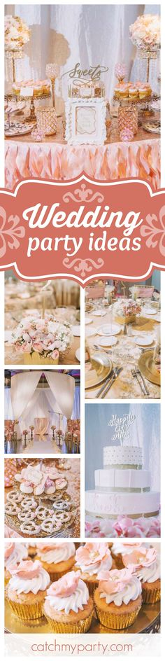 Toast the happy couple at this fabulous Blush and Gold Wedding! The table settings are spectacular!! See more party ideas and share yours at CatchMyParty.com