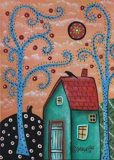 Blue Trees 5x7inch ORIGINAL Canvas Panel PAINTING FOLK ART cat landscape Karla G #FolkArtAbstractPrimitive