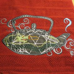 Embroidered Kitchen Towel Dragon Teapot by HeartSongCreativeExp, $15.00 Beautiful Gift Idea!