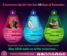 3 awesome tips for the last 10 days of Ramadan. Read More :  https://instagram.com/p/48WwDQmtjy/