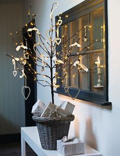 could do a small twig tree like this in the dressing room on green dresser
