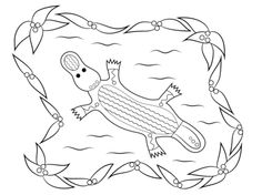 Platypus Aboriginal Art Coloring Page From Indigenous Australians Category Select 28148 Printable Crafts Of Cartoons Nature Animals Bible And Many