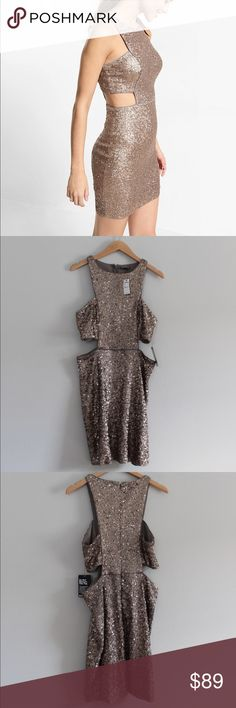 Express Cut Out Sequin Dress Express Sequin Dress with cut out sides.   Champagne color. 100% polyester.   Perfect for New Years Eve! Express Dresses Mini