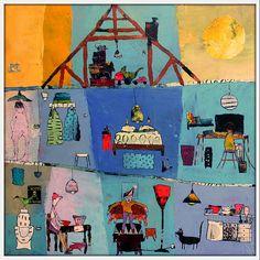 Elke Trittel acrylics,collage on board 50/50cm