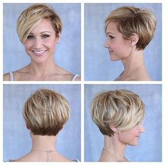 30 Cute Pixie Cuts: Short Hairstyles for Oval Faces Layered Pixie Haircut – Blonde and Brown Short Hair Styles For Round Faces, Hairstyles For Round Faces, Hairstyles Haircuts, Medium Hairstyles, Bob Haircuts, African Hairstyles, Wedding Hairstyles, Short Styles, Wedding Updo