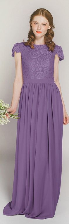 purple cap sleeves lace and chiffon bridesmaid dresses TBQP322