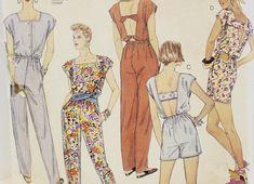 McCall's Vintage 1987 Misses Jumpsuit or Short Jumpsuit, w/Square Neck & Several Back Variations. Vintage Jumpsuit, Jumpsuit Pattern, Short Jumpsuit, Long Pants, Vintage Sewing Patterns, Size 16, Print Patterns, Design Inspiration, Neckline