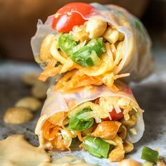 When you can't decide between fresh rolls and papaya salad, make papaya salad rolls! These are on the table in mere minutes. Don't forget the peanut sauce!