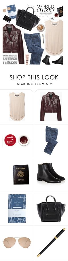 """""""airport style"""" by jesuisunlapin ❤ liked on Polyvore featuring Raquel Allegra, T By Alexander Wang, Korres, NYDJ, Passport, Hobbs, Victoria Beckham, Louis Vuitton, Aesop and leatherjacket"""