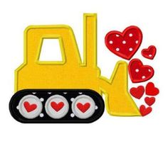 Boys Valentine's Day Bulldozer with Hearts Shirt by #RockintheTutu www.etsy.com/shop/rockinthetutu