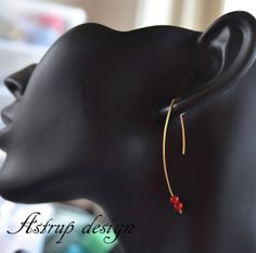 Exciting graphic earrings with red Coral stones from Lisa Astrup Art & craft by DaWanda.com