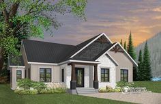 Plan 3 Bed Modern Craftsman Ranch Home Plan Craftsman Ranch, Craftsman Cottage, Modern Craftsman, Craftsman Style House Plans, Modern Farmhouse Plans, Ranch House Plans, Best House Plans, Craftsman Exterior, One Level House Plans
