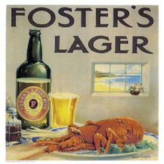 Foster's Lager. Vintage Australian Advertisement poster by James Northfield