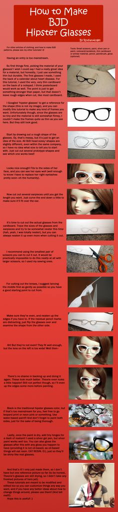 How to make BJD hipster glasses. Should work for any size of doll. Adding lenses cut from clear plastic would make them look,so much more real. Barbie Patterns, Doll Clothes Patterns, Ooak Dolls, Barbie Dolls, Hipster Glasses, Diy Accessoires, Barbie Accessories, Doll Tutorial, Doll Repaint