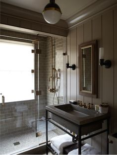 Masculine and Modern Industrial Bathroom, in the West Village, NYC, via Gambrel Architects and Design.