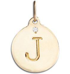 """""""J"""" Alphabet Charm With Diamond - 14k Yellow Gold - Jewelry - Helen Ficalora - 1"""