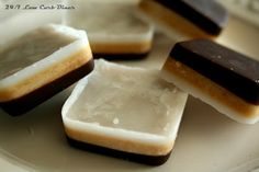 Low Carb Diner: Triple Layer Coconut Candies use another nut butter Low Carb Deserts, Low Carb Sweets, Healthy Sweets, Healthy Snacks, Healthy Candy, Healthy Eating, Candy Recipes, Real Food Recipes, Yummy Food
