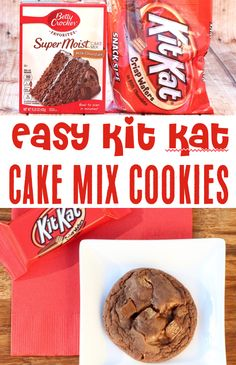 These soft and fudgy cookies loaded with crunchy Kit Kats are just what your weekend needs! Go grab the recipe and give them a try! Cake Mix Cookie Recipes, Chocolate Cookie Recipes, Cake Mix Cookies, Cake Mixes, Sandwich Cookies, Shortbread Cookies, Chocolate Ganache, Chocolate Cookies, 4 Ingredient Desserts