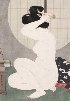 Hirano Hakuhou (1879-1957) 平野白峰 - Arranging Hair Before a Window, 1932. ~ETS #japaneseart