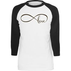 Infinity Love Baseball Tee ($30) ❤ liked on Polyvore featuring tops, t-shirts, silver, women's clothing, unisex t shirts, raglan sleeve baseball shirt, relax shirt, raglan shirts and relaxed fit t shirts