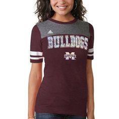 adidas Mississippi State Bulldogs Womens Tri-Blend Foil Hearts Sporty T-Shirt - Maroon/Gray #Fanatics #PinForPresents