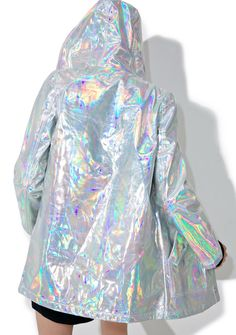 Designer Clothes, Shoes & Bags for Women Holographic Raincoat, Holographic Jacket, Little Mix, Festivals, Water Resistant Coats, Holographic Fashion, Hooded Raincoat, Glamour, Raincoats For Women