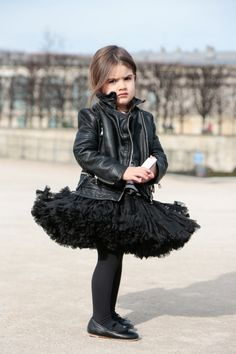 myoutfitisamasterpiece: In microfashion this cutie is edgy glam with a tutu & leather jacket 15′