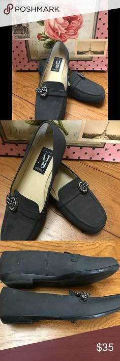 93962f14d0283e AJ Valencia Rhinestone Black Loafers. 7 1 2 Wide Beautiful super  comfortable loafer style shoe with clear and black colored rhinestones