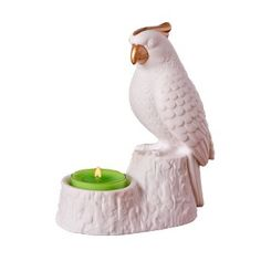 Proud parrot is a chic take on modern, tropical style. Sculpted porcelain with gold-tone detail. PartyLite Parrot Tealight Candle Holder